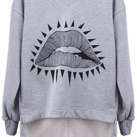ROMWE | Asymmetric &quot;Triangle Sexy Mouth&quot; Grey Pullover, The Latest Street Fashion