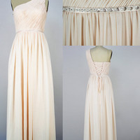 Custom Beach One-shoulder Floor-length Chiffon Sashes Long Prom/Evening/Party/Homecoming/Bridesmaid/Cocktail/Formal Dress 2013 New Arrival