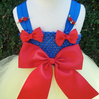 Baby girl snow white  tutu dress costume with matching red bow headband fits sizes 12m-6T.