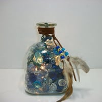 Child Night Light - Patron Upcycled Bottle Lamp -  Lighted Bottle Decor
