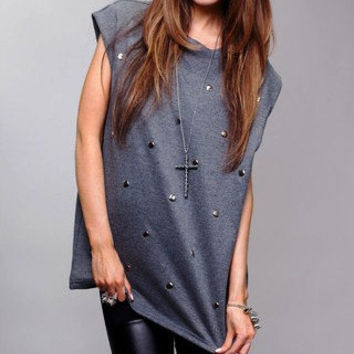 HypoxicAndLost - Handmade - Grey Studded Muscle Tank