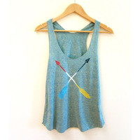 Tribal Arrows Racerback Hand Stenciled Slouchy Scoop Neck Swing Tank Top in Fresh Green and Primary Colors - XS S M L