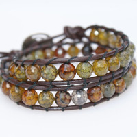 2 x Wrap bracelet Green and Brown faceted Agate by OlenaDesigns