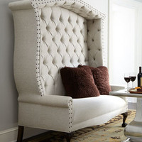 """Bridgeport"" Settee & Fuzzy Accent Pillow - Horchow"