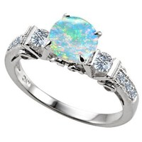 Original Star K(tm) Round 7mm Created Opal Engagement Ring LIFETIME WARRANTY