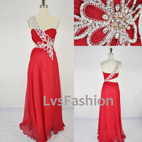One Shoulder Sweetheart with Beading Chiffon Long Red Prom Dress Evening Gown