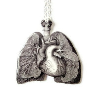 Anatomical Lungs &amp; Heart Necklace Anatomy Black and White Vintage Illustration Medical Statement Jewlery Anatomically Correct