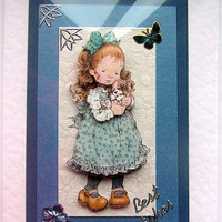 WINTER SALE Puppy Love Hand-Crafted 3D Decoupage Card - Best Wishes (1385)