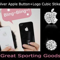 For iPhone 5 3/4/4S Bling Diamond Crystal Deco Home Button &amp; Logo Sticker Silver