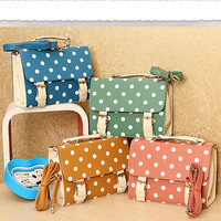 Polka Dot Satchel | Pink, Blue, Green &amp; Brown