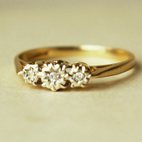 Vintage Diamond Trilogy Ring 9k Gold Engagement Ring by luxedeluxe