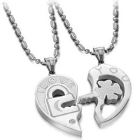 """Stainless Steel Key To My Heart """"I LOVE YOU"""" Couples Necklaces 20"""""""