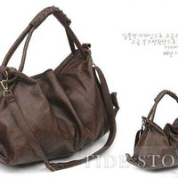 Pleated Solid Color Single Shoulder Bag: tidestore.com