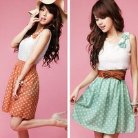 polka dot sleeveless chiffon cotton dress orange green - FREE SHIPPING