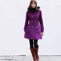 Fur Trimming Hoodie Jacket Purple Jacket Cashmere Hooded Coat Double breasted Hoodie Wool Coat Winter Jacket - Custom Made - NC426
