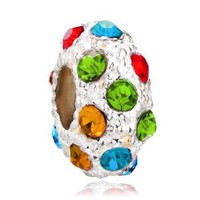 Pugster White Ball Colorful Fashion Swarovski Crystal Bead Charm Fit Pandora Chamilia Biagi Charms Bracelet: Jewelry: Amazon.com