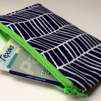 Zippered Coin Purse Wallet - Fabric Business Card Holder - Navy Blue/White Herringbone