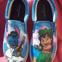 Hula Lilo and Elvis Stitch featuring Pleakley, Scrump and Pudge the fish. Custom painted shoes. Any Size Toms, Converse hi tops or Vans