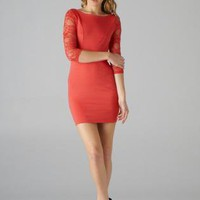 Red Lace 3/4 Length Sleeve Bodycon Dress with Cutout Back De