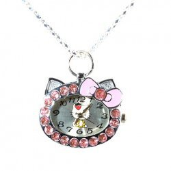 Cat Face with Pink Diamond Hello Kitty Pocket Watch Hot Sale At Wholesale Price - Gadgetsdealer.com