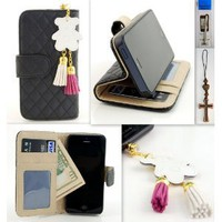 Amazon.com: IP5 Black Qulited Leather Stand Case Card Holder Wallet + Bear Fringed Dust Plug Charm for for Apple Iphone 5 Ship From Hong Kong: Cell Phones &amp; Accessories