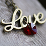 Love Script Necklace - Siam Red Swarovski Crystal Heart Pendent &amp; Vintage Brass Charm