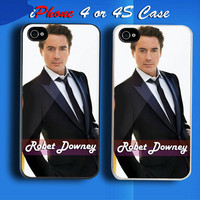 Robert Downey Jr Vogue Men Custom iPhone 4 or 4S Case Cover from namina