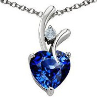 Original Star K(tm) Heart Shaped 8mm Created Sapphire Pendant in .925 Sterling Silver: Jewelry: Amazon.com
