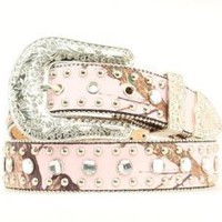 Amazon.com: Pink Mossy Oak Rhinestone and Stud Belt for Women: Clothing