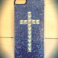 Glitter iPhone 5 silver studded cross case