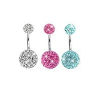 "Amazon.com: Lot of 3 Pieces Belly Ring Swarovski Crystal Belly Button Rings 14G (1.6~mm) 3/8""(10~mm) Clear ,Light Blue ,Pink: Everything Else"