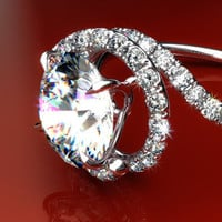 18k White Gold Pave Set Swirl Diamond Engagement Ring,17225W