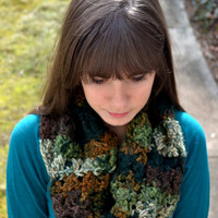 Brown and Green Crocheted Infinity Scarf