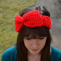 Red Crocheted Bow Headband