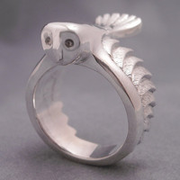 Barn owl ring  sterling silver by DansMagic on Etsy