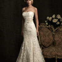 Ivory &amp; Silver Satin &amp; Lace Applique Strapless Fitted Wedding Gown - Unique Vintage - Cocktail, Pinup, Holiday &amp; Prom Dresses.