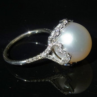 Stunning Large South Sea Pearl Ring 13mm Figural 14K by gemson47