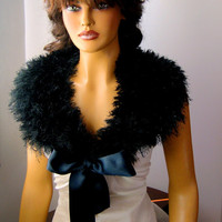 Hand Crochet Bridal Black Bolero Shrug, Shawl, Bride Bridesmaid Wedding Fashion, Capelet, Holiday, Bride Shoulder Wrap, Spring Fashion