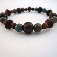 blue jasper bracelet  wood bone and jasper  ebony purple by BeaKez