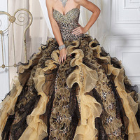 Strapless Animal Print Quince Gown