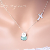 Sideways cross necklace with initial disc and stone in by chiky