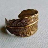 Antique Brass Adjustable Feather Ring by pinkingedgedesigns