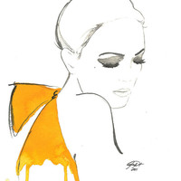 Watercolor Fashion Illustration The Yellow by JessicaIllustration