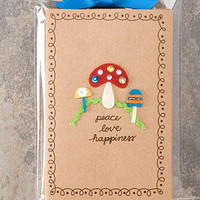 Mushroom Peace Love Happiness Retro Notecards - Unique Vintage - Cocktail, Evening & Pinup Dresses