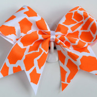 3 Wide Luxury Cheer Bow    Orange / White by BowsWithAttitude