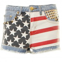 American Flag Gold Studded Denim Summer Shorts - Clothing from Lavish Alice UK
