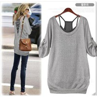 shoulder strap knitting cotton grey blouse **FREE SHIPPING**