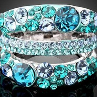 Size 9 ARINNA Blue Zircon Swarovski Crystal White Gold Plated Vogue Finger Ring from TORNADO'S TREASURES