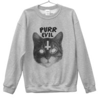 Killer Condo — Purr Evil Cat Sweatshirt | Black on Grey