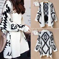Geometric/Tribal Pattern Oversized Open Front Loose Sweater Cardigan